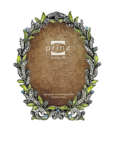 Prinz Gwenyth Metal Jeweled Frame for 3.5 by 5-Inch Photo, Antique Silver