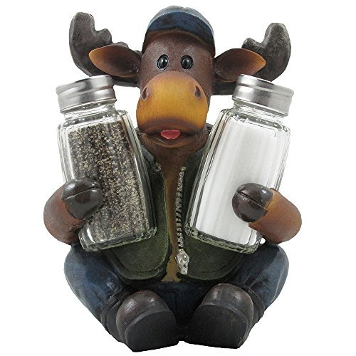 Camping Moose Salt and Pepper Shakers Set Figurine for Hunting Lodge Restaurant or Rustic Cabin Kitchen Table Decor and Decorative Gifts for Campers