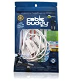 Cable Buddy� 5-pack, White - Cable Organizer Ties with Color ID Labels