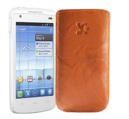 Original Suncase Tasche fuer / Alcatel One Touch 992D (Dual-Sim) / Leder Etui Handytasche Ledertasche Schutzhuelle Case Huelle - Lasche mit Rueckzugfunktion* In Wash-Orange