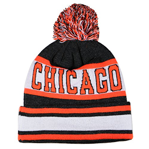 Team, City, & State Name Blending Color Cuffed Winter Knit Hat Cap Beanie (Chicago Dark Gray/Neon Orange) (Bears Winter Hat compare prices)