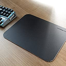 Rantopad ATS+ Ultra Thin (2mm) Aluminium Surface/Core Gaming Mouse Pad Frosted Matte 11X8X0.08in, Black