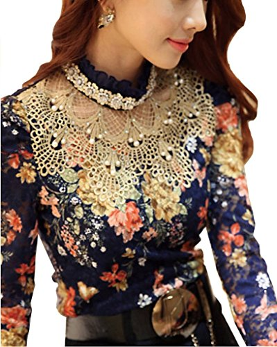 Minetome Ladies Blouse Lace Blouse Lace Long Sleeve Slim Fit Collar Lining Ol With Rhinestones ( UK 10/12 EU M )