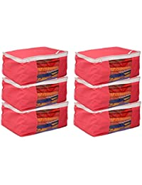 Kuber Industries Non Woven Saree Cover Bag Set Of 6 Pcs /Wardrobe Organiser/Regular Clothes Bag Pink-19178
