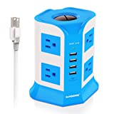 Surge Protector Power Strip 8-Outlet 4-USB Port Multi Outlets Plug Desktop Charging Station with 6.5ft Long Heavy Duty Extension Cord Home Office School E-Reader Power Adapter by Safemore(White+Blue) (Color: White+Blue, Tamaño: 8-Outlet 4-USB)