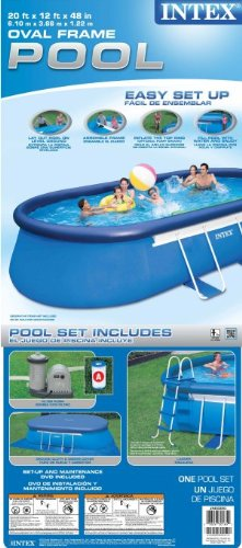 intex oval frame pool set 20 feet by 12 feet by 48 inch. Black Bedroom Furniture Sets. Home Design Ideas