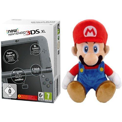 New Nintendo 3DS XL metallic schwarz + Nintendo Plüschfigur Super Mario (21cm)