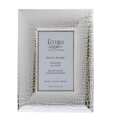 Eccolo World Traveler Crocco Silver Plated Frame, Holds a 4 x 6-Inch Photo
