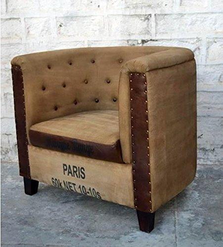 Poltrona Sillon stile industriale vintage in tela e pelle