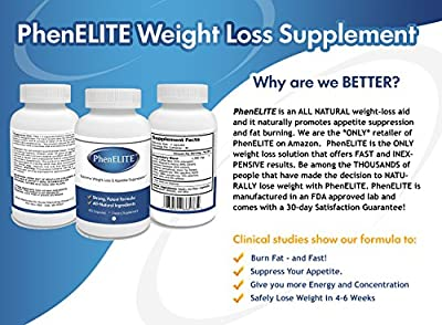 PhenELITE - HIGHEST Rated Pharmaceutical Grade Weight Loss Diet Pills - Fast Weight Loss, Hyper-Metabolising Fat Burner and Appetite Suppressor - Lose Weight or get your MONEY BACK!