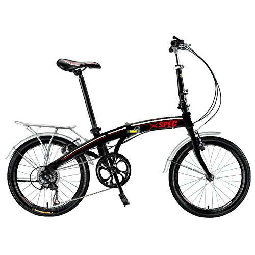 "Find Discount Xspec 20"" 7 Speed City Folding Compact Bike Bicycle Urban Commuter Shimano Black"