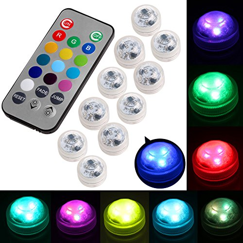 Slaxry 10Pcs Waterproof Submersible LED Light bulb Lamp Color Change With Wireless Remote Controller Decoration for Fish Tank, aquarium, Wedding,Christmas, Halloween, Valentines day