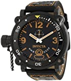 Invicta Men's Russian Diver Lefty Chronograph Watch 7271 with Black Dial and Orange-Black Leather Strap