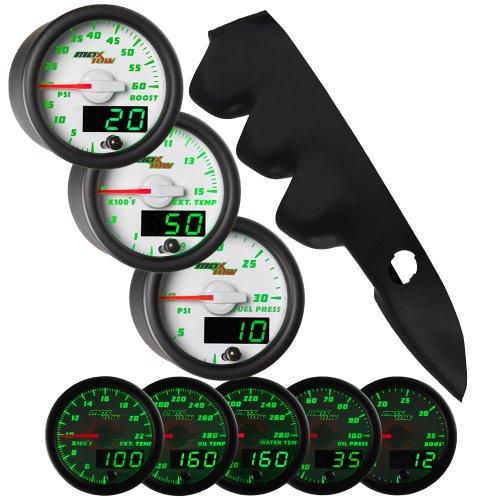 White Maxtow 00-06 Chevy Silverado Duramax W/ A-Pillar Speaker Diesel Gauge Package White Face Boost, Egt & Fuel Pressure