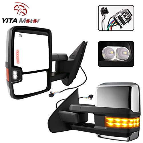 YITAMOTOR Chrome Cover Power Heated Towing Side Mirrors Signal + Arrow + Clearance Lamps for 07-13 Silverado Sierra Truck (2014 Chevy Towing Mirrors compare prices)