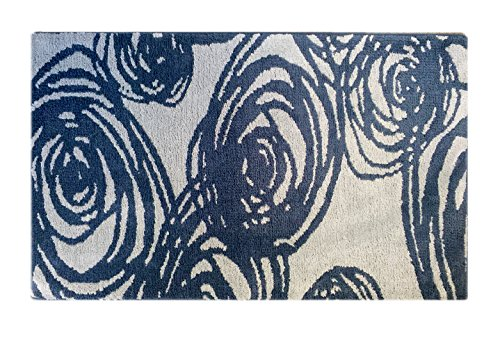 fabbrica home non slip bath kitchen accent memory foam rug mat 34 x 21 swirls navy blue. Black Bedroom Furniture Sets. Home Design Ideas