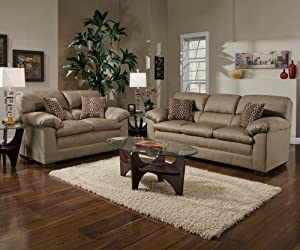 SIMMONS VELOCITY SOFA LOVESEAT PUB BACK PILLOW TOP SEAT LIVING ROOM SET NEW MINERAL