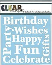 Clear Scraps CSSM6-WSHES Translucent Plastic Film Stencil Wishes 6-Inch x 6-Inch