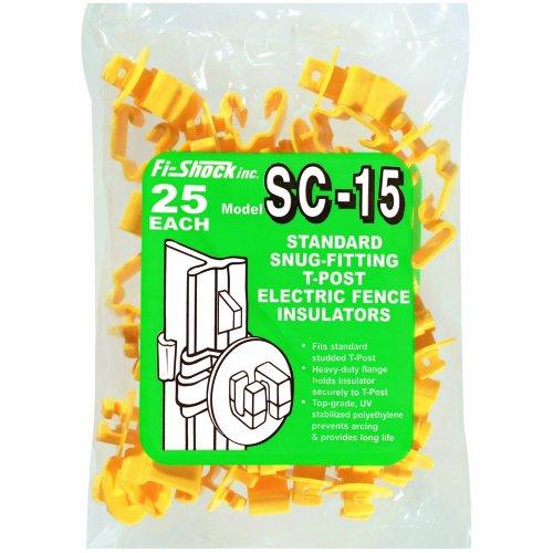 Fi-Shock SC-15 Standard Snug-Fitting T-Post Insulators, Yellow, 25-Pack