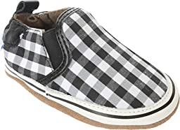 Robeez Liam Soft Sole Crib Shoe (Infant), Black/White, 12-18 Months M US