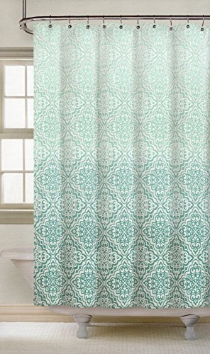 Nicole Miller Fabric Shower Curtain Teal Mosaic Lace Medallions