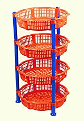 NOVICZ 4 Layer Kitchen Rack Stand Fruits Vegetable Rack Storage Household Office Rack Storage Stand - Orange