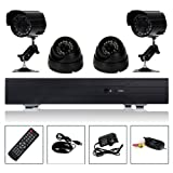WMicroUK Top Quality H.264 CCTV kit 1 X 4CH Full D1 DVR + 2 X Outdoor Camera + 2 X Indoor Camera HDMI Security Kit UK,setup a CCTV security system to Protect your home,shop and office