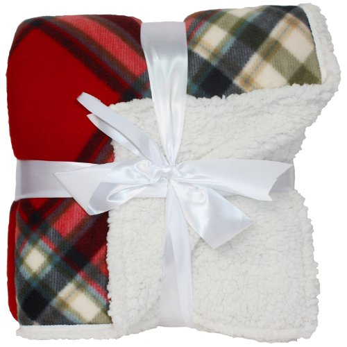 J & M Home Fashions Holiday Plaid Sherpa Fleece Blanket, 50 By 60-Inch, Red