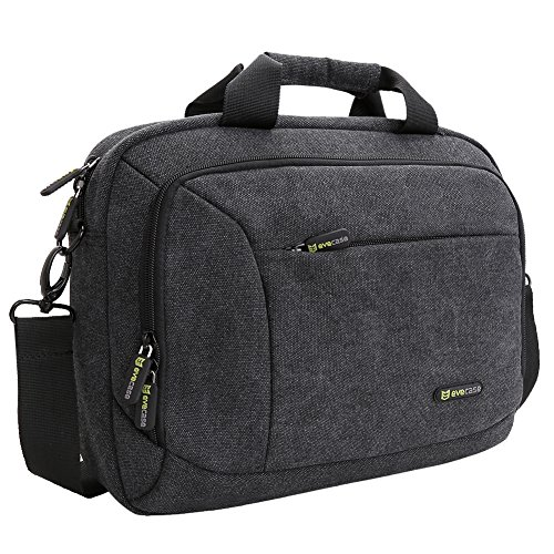 "Laptop Messenger Bag, Evecase 11.6"" - 12"" Canvas Messenger Bag - Dark Grey w/ Handles, Shoulder Strap, and Multiple Accessory Pockets (for 11.6 - 12 in laptops, ultrabooks, or tablet pc)"