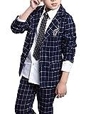 (モリハニ) Moli&Hani フォーマル 男の子 子供 スーツ キッズ チェック柄 タキシード 2点セット 入学式 卒業式 入学式 結婚式 写真撮り