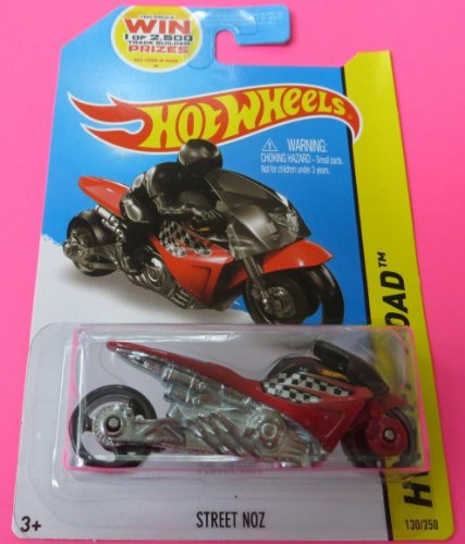 Street NOZ 2014 Hot Wheels 130/250 (Red) HW Off-Road Street Bike Vehicle - 1