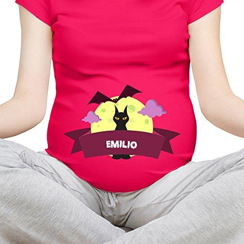 T Shirt Maglia Premaman Festa di Halloween Personalizzato con Nome Black Cat Fucsia XL Manica Corta
