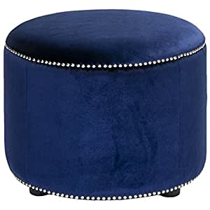 Safavieh Hudson Collection Zachary Round Nailhead Ottoman, Royal Blue