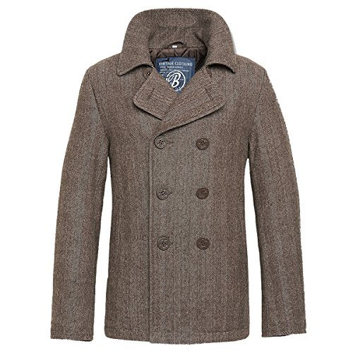 Brandit Uomini Pea Coat: Nero marrone XX-Large