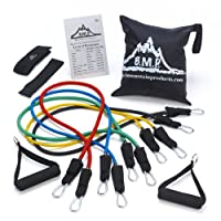 Black Mountain Products Resistance Band Set with Door Anchor, Ankle Strap, Exercise Chart, and Resistance Band Carrying Case by Black Mountain Products