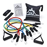 Black Mountain Products (B.M.P.) resistance bands are made from the highest quality rubber to ensure maximum life. This set of resistance bands includes five stackable resistance bands, two handles, door anchor, carrying bag, and exercise manual. Thi...