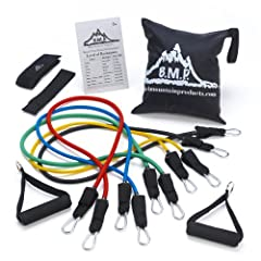 Buy Black Mountain Products Resistance Band Set with Door Anchor, Ankle Strap, Exercise Chart, and Resistance Band Carrying... by Black Mountain