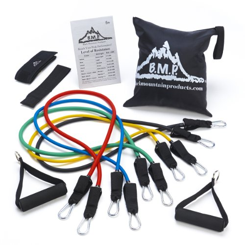 Black Mountain Products Resistance Band Set With Door Anchor, Ankle Strap, Exercise Chart, And Resistance Band Carrying Case front-62947