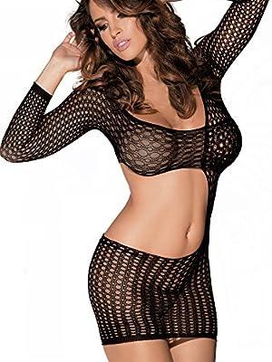 Beautyslove Women's Seamless Seductive Fishnet Pothole See Through Elastic Mini Dress Bodysuit Nightwear Hosiery Lingerie