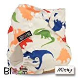 LittleBloom, Reusable Pocket Cloth Nappy, Fastener: Popper, Set of 1, Pattern 59, With 2 Bamboo Inserts, Dinosaurs(minky)