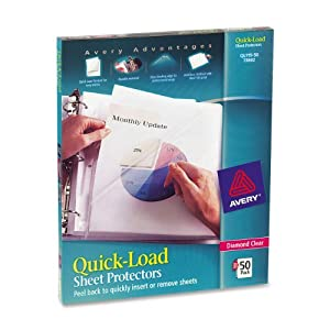 Avery Diamond Clear Quick-Load Sheet Protectors, Acid Free, Box of 50 (73802)
