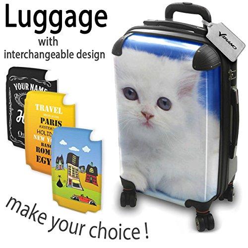Gatti 10004, Gatto Bianco, Luggage Valigia Bagaglio Ultraleggero Trasportabile Rigido con 4 Route e Disegno Intercambiabile. Dimensione: Formato Cabina S