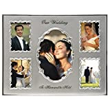 Malden International Designs Our Wedding Two Tone Collage Picture Frame, 5 Option, 1-4x6 & 4-3.5x5, Silver
