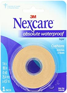 Nexcare Absolute Waterproof First Aid Tape, 1-Inch x 5-Yard Roll (Pack of 6) by Nexcare