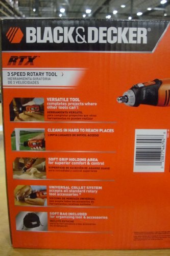 Black & Decker RTX-6 2 Amp 3-Speed Rotary Tool with 30 Accessories and 2 Spring Clamps
