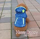 スターアップリケのふわふわフリースジャケット(ロイヤルブルー) Lサイズ ワンコ服 犬服 ドッグウェア HUGGY BUDDY'S(ハギーバディーズ)