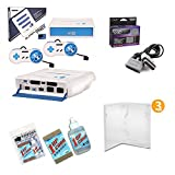 Super Retro Trio Gaming Bundle with 6' Foot Extension Cable, 3 Protective Universal Game Cases, Universal Cartridge Cleaning Kit - White and Blue Edition
