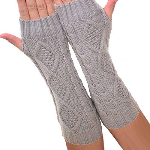 BIAL Fingerless Design Thumb Hole Knitted Long Gloves ...