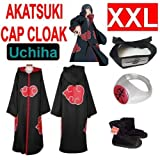 365buying Naruto cosplay costume Set for Uchiha - Akatsuki Cloak(XXL) + Akatsuki Itachi Uchiha ring + Uchiha Itachi headband (black) + Naruto Akatsuki Shoes