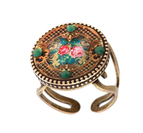 Michal Negrin Stunning Ring with Flower Print, Vintage Elements and Green Swarovski Crystals; Made in Israel; Very Feminine